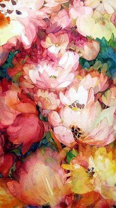 Dustan Knight, Watercolor, Juliet's Flowers by jan
