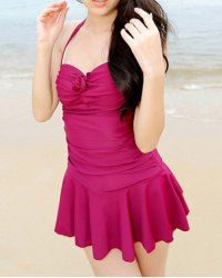 $13.12 Floral Embellished Solid Color Pleated Halter Sweet and Charming Swimwear For Women