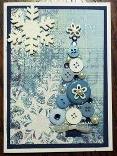 Blue Button Christmas Tree Card...
