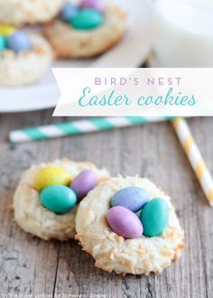 Bird's Nest Easter Cookies - Somewhat Simple recipes ide. Bird's Nest Easter Cookies - Somewhat Simple recipes ideas recipes ideas families recipes ideas healthy Bird Nest Cookies Recipe, Bird Cookies, Soft Sugar Cookies, Flower Cookies, Heart Cookies, Easter Cookie Recipes, Easter Cookies, Easter Treats, Easter Food