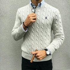 Pull écru Chemise bleu = Accord Parfait #nouvelleco #style #homme #mod
