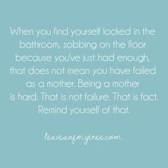 I think we all have been there as a mom. I know I have, not the bathroom but the garage, or outside... Where ever we go to hide and cry, we need to remember we are strong, and can get through this. It will all be a memory.