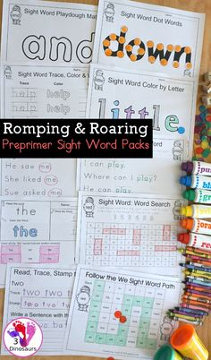 Romping & Roaring Preprimer Sight Words - 10 pages of activities for each all 40 preprimer sight words for easy to use learning centers - 3Dinosaurs.com #sightwords #kindergarten #firstgrade #sightwordpacks #preprimersightwords #preprimer #learningtoread