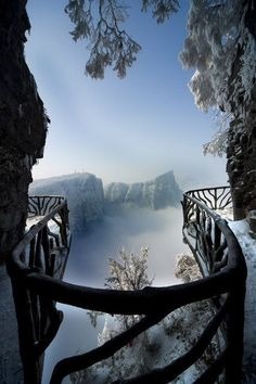 """Snow on Tianmen Mountain Description from Wiki: """"Tianmen Mountain (Chinese: 天门山; pinyin: Tiānmén Shān) is a mountain located within Tianmen Mountain National Park, Zhangjiajie, in northwestern Hunan Province, China ~Our Beautiful World~ Zhangjiajie, Parc National, National Parks, National Forest, Places To Travel, Places To See, Travel Destinations, Wonderful Places, Beautiful Places"""