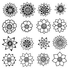 Draw Flower Patterns Set of Mehndi flower pattern for Henna drawing and tattoo. Decoration in ethnic oriental, Indian style. Mehndi Designs, Henna Designs Easy, Beautiful Henna Designs, Henna Flower Designs, Beginner Henna Designs, Hena Designs, Arte Mehndi, Henna Mehndi, Hand Henna