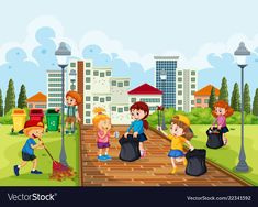 Volunteer children cleaning park Royalty Free Vector Image Hi keep your environment Healthy. Art Drawings For Kids, Art For Kids, Energy Conservation Poster, Save Environment Posters, Cartoon Park, Art Classroom Decor, Picture Comprehension, Glitter Phone Wallpaper, Drawing Competition