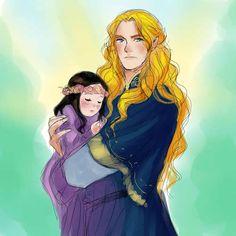 Glorfindel and Arwen by nevui-penim-miruvorrr - Imagine Glorfindal babysitting little Arwen. He seems like he'd be good with kids.