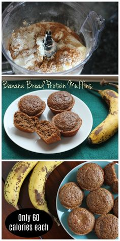 Protein Banana Muffins At just 60 calories each, these banana bread protein muffins are a perfect low calorie snack!At just 60 calories each, these banana bread protein muffins are a perfect low calorie snack! Low Calorie Muffins, Banana Protein Muffins, Low Calorie Desserts, No Calorie Foods, Low Calorie Recipes, Low Calorie Banana Bread, Low Calorie Baking, Low Calorie Snacks Sweet, Low Calorie High Protein