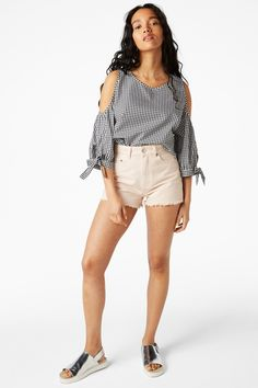Monki Image 2 of High-waist denim shorts in Orange Yellowish Light
