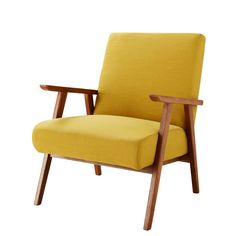 Spice up your decor with the HERMANN Vintage Mustard Yellow Armchair. Its pine frame and solid ash legs ensure great stability.