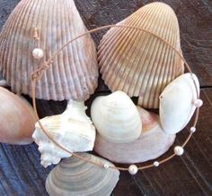 Large Hole Pearl and Leather Necklace Soul of the Sea Made In USA N207 ~