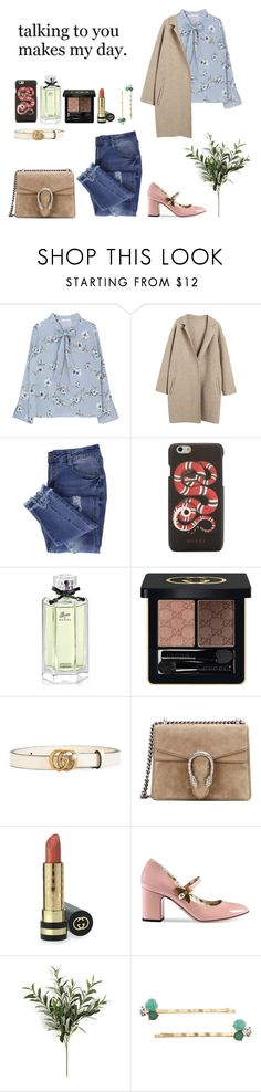 """My power looks like this."" by soojinchoi ❤ liked on Polyvore featuring Essie, Gucci, LC Lauren Conrad and Love Quotes Scarves"