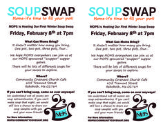 MOPS soup swap flyer- WHAT AN AWESOME IDEA! @Sarah Chintomby Mueller @Stephanie Close Bennett