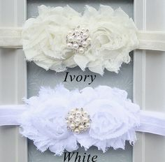 The Ivory Innocence Headband - Baby Girl Ivory Flower & Pearl Rhinestone Hair Bow - Little Girl's Christening or First Communion Headband on Etsy, $6.75