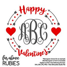Happy Valentine's Day Monogram Wreath Arrows Hearts (monogram NOT included) - SVG, DXF, png, jpg digital cut file for Silhouette or Cricut