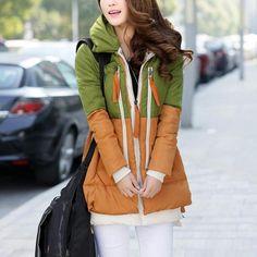 Clearance Down Parkas 2014 Fashion Women Duck Down Jackets Long Wide Waist Coat Spliced Casual Coat Promotional discounts