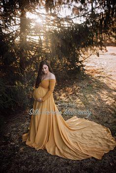 Camille Gold Maternity Dress, Full Circle, Off shoulders, long sleeves, short slip, champagne, elopment dress - Silk Fairies