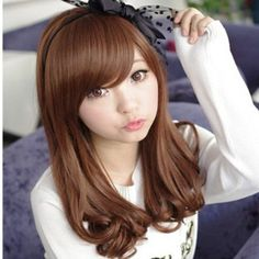 Cheap wig shop, Buy Quality wig long directly from China wig female Suppliers: lady wig curly with bang stylish Pear flower head curly wig with medium length Hot Sale OL Style Middle Length curly Daily Hair