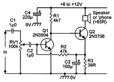 General-purpose high-gain low-power audio amplifier.