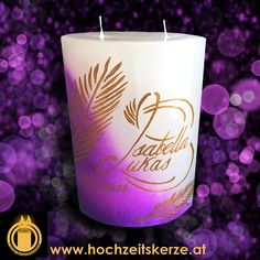 Hochzeitskerze Lila Pillar Candles, Lilac, Candles, Rustic, Homemade, Gifts, Decorations