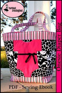 Erins Designs -Onesie Diaper Bag- Sewing Pattern PDF For a Baby Girl or Boy ebook. $9.95, via Etsy.