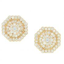 Mini Octagon Pave Diamond Stud Earrings