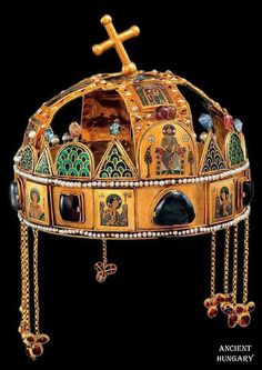 """The Holy Crown of Hungary is composed of two parts, including a Byzantine crown known as the """"Corona Graeca"""". Royal Crowns, Crown Royal, Tiaras And Crowns, Hungary History, Saint Stephen, Byzantine Art, Byzantine Mosaics, Royal Jewelry, Jewellery"""