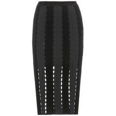 Alexander Wang mytheresa.com Exclusive Knitted Wool-Blend Skirt (735,435 KRW) ❤ liked on Polyvore featuring skirts, black, black skirt, black knee length skirt, alexander wang skirt and alexander wang