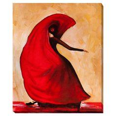 Red Flmae Dress - canvas print