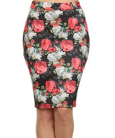 Love this Pink & White Floral Pencil Skirt - Plus on #zulily! #zulilyfinds