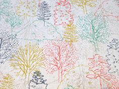Japanese Cotton Print Fabric - 60 Lawn, Half Yard - Forest 2 - NT360.