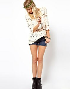 Image 4 of ASOS Crochet Slouch Jumper