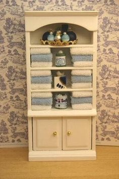 Dollhouse Miniature Bathroom Cabinet Filled with Towels | eBay
