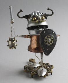 Found Object Robot Assemblage Viking Sculpture By Brian Marshall 3 | by adopt-a-bot