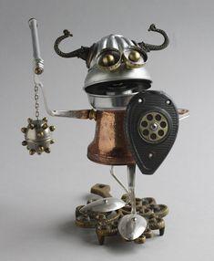 https://flic.kr/p/9UmJTG   Found Object Robot Assemblage Viking Sculpture By Brian Marshall 3