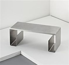 MARIA PERGAY 'Pliée' low table, c. x x cm x 40 x 40 in) Produced by Design Steel, France. Stainless Steel Furniture, Stainless Steel Table, Discount Furniture, New Furniture, Furniture Design, Furniture Outlet, Balustrade Inox, Tole Pliée, Coffe Table