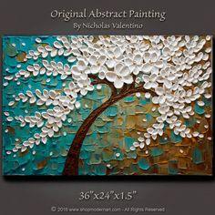 Large 36x24x1.5 Original Abstract Blossom Tree by ShopModernArt