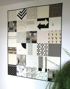 Black and White Modern Quilt, Art Quilt, Lap Quilt by CentralFabrications on Etsy