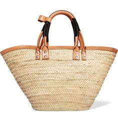 BalenciagaBistrot Panier Leather-trimmed Woven Raffia Tote (€1.225) ❤ liked on Polyvore featuring bags, handbags, tote bags, tote purses, woven handbags, beige tote, beige purse and balenciaga handbags