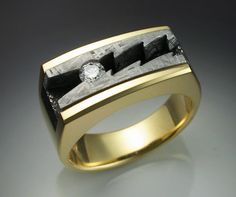 18k gold mans ring with Diamond and by Metamorphosisjewelry, $3890.00
