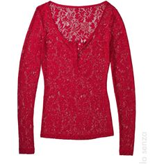 Lace Henley ($12) ❤ liked on Polyvore featuring tops, long sleeve tops, red top, long sleeve lace top, scoop neck top and lacy tops