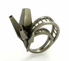 Nicole Schuster. Ring: The Mine, 2013. Silver, ruthenium plated. 3.9 x 2.4 x 3.6…