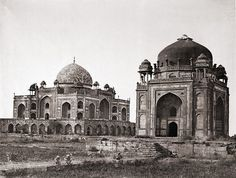 Tomb of Humayun, with his barber's tomb (Nai-ka-Gumbad) in the foreground, Delhi (1858 photograph)
