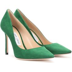 Jimmy Choo Romy 100 Suede Pumps (1.780 BRL) ❤ liked on Polyvore featuring shoes, pumps, jimmy choo, green, high-heel, high heel pumps, green pumps, high heel shoes and green suede shoes
