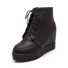 MayMeenth Women's Lace-up Round Closed Toe Kitten-Heels PU Solid Boots * More info could be found at the image url.
