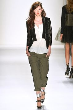 wool & leather jacket + solid silk top + canvas & leather pant