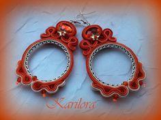 Orange Long Soutache Earrings by KARILORA on Etsy