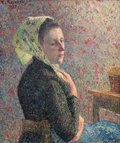 [フリー絵画素材] カミーユ・ピサロ - 緑のネッカチーフをした女 (1893) ID:201307192000