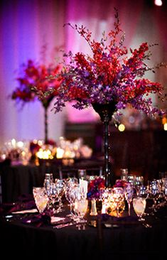 purple and red tall wedding centerpieces