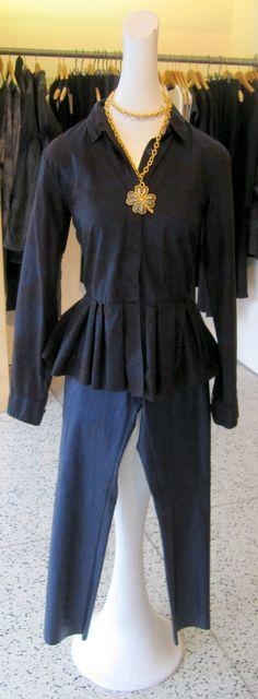Dries Van Noten peplum midnight flower top, blue leather Stand pants, vintage YSL necklace